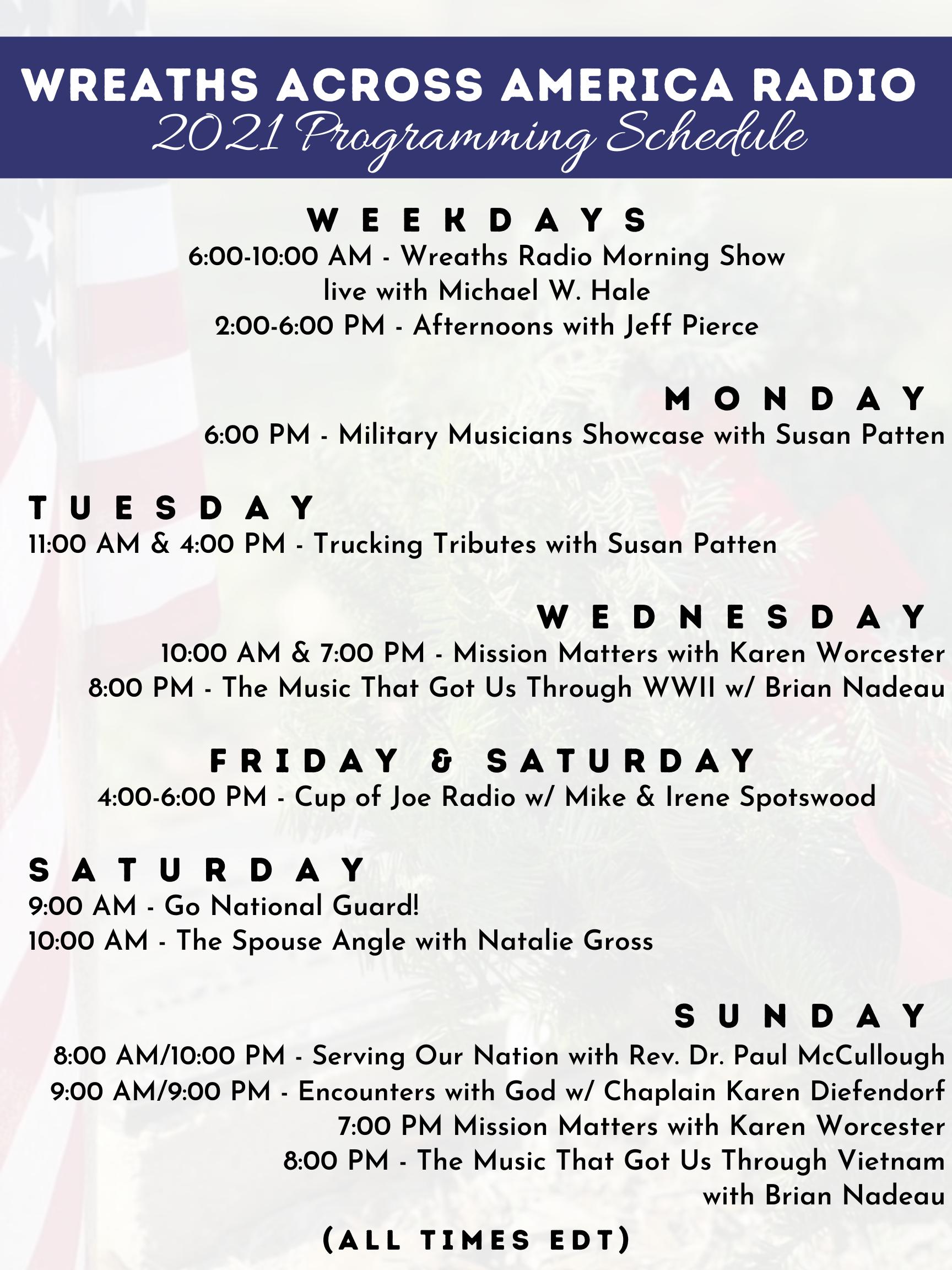 WAA Radio Schedule 9-1-2021